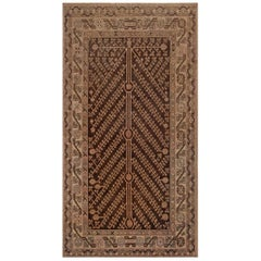Midcentury Samarkand Brown, Beige and Pink Handmade Wool Rug