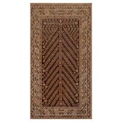 Midcentury Samarkand Brown, Beige and Pink Handmade Wool Rug