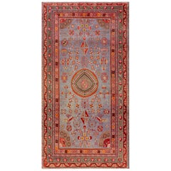 Midcentury Samarkand Brown, Gold, Orange, Pink, Purple & Red Handmade Wool Rug