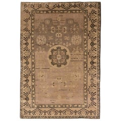 Midcentury Samarkand Brown Handwoven Wool Rug