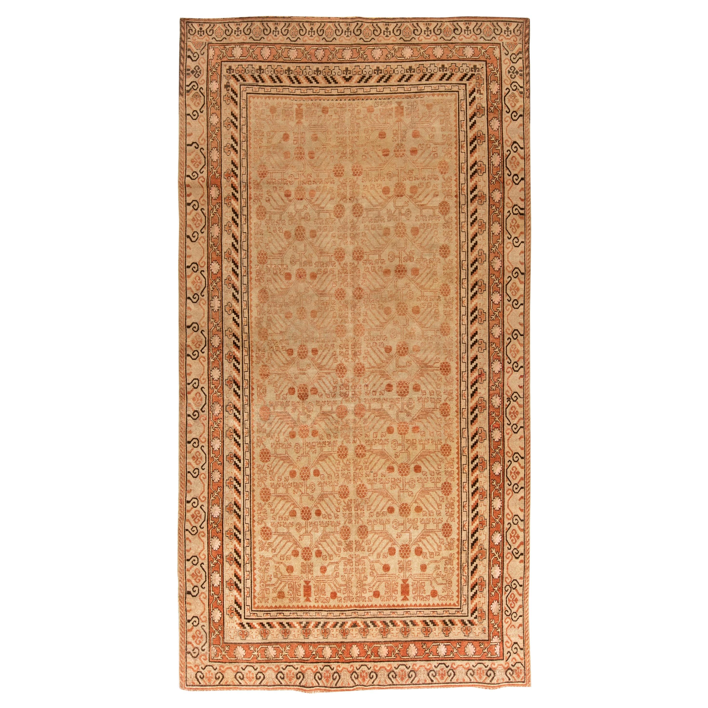 Midcentury Samarkand Caramel, Camel, Sandy Beige and Brown Handwoven Wool Rug