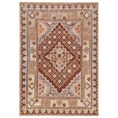Midcentury Samarkand Gray and Beige, Purple and Pink Handmade Wool Rug