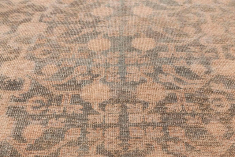 Midcentury Samarkand gray, blue, beige and brown hand knotted wool rug Size: 7'9