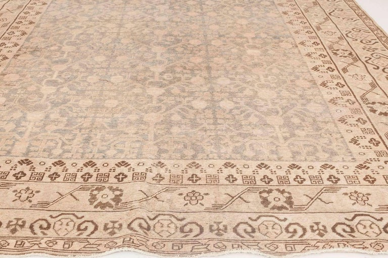 Uzbek Midcentury Samarkand Gray, Blue, Beige and Brown Hand Knotted Wool Rug For Sale