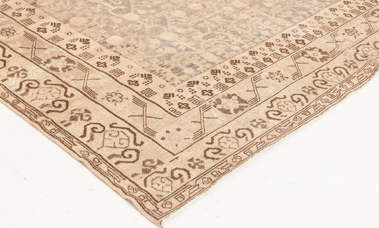 Midcentury Samarkand Gray, Blue, Beige and Brown Hand Knotted Wool Rug For Sale 1