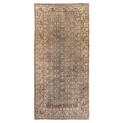 Midcentury Samarkand Gray, Blue, Beige and Brown Hand Knotted Wool Rug