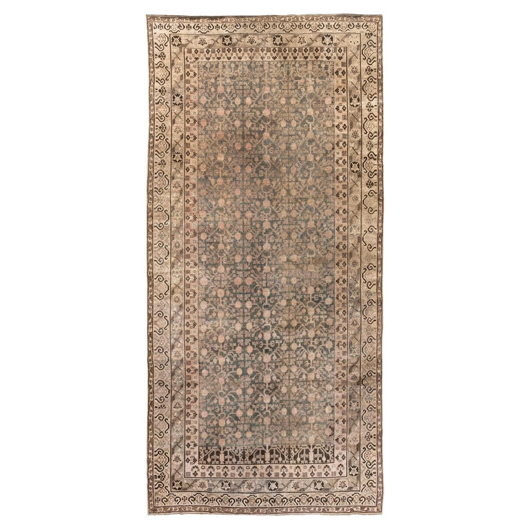 Midcentury Samarkand Gray, Blue, Beige and Brown Hand Knotted Wool Rug For Sale