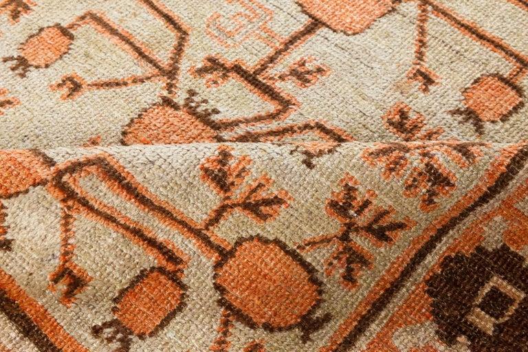 Midcentury Samarkand handmade wool rug Size: 5'4