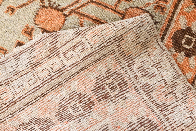20th Century Midcentury Samarkand Handmade Wool Rug For Sale