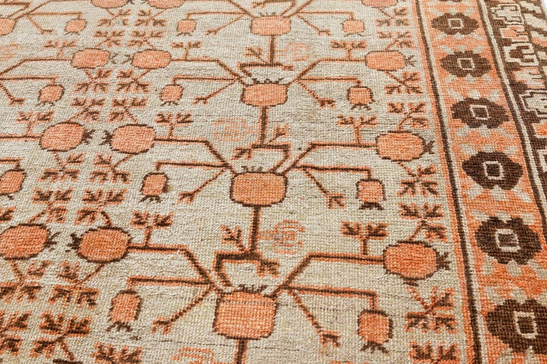 Hand-Knotted Midcentury Samarkand Handmade Wool Rug For Sale