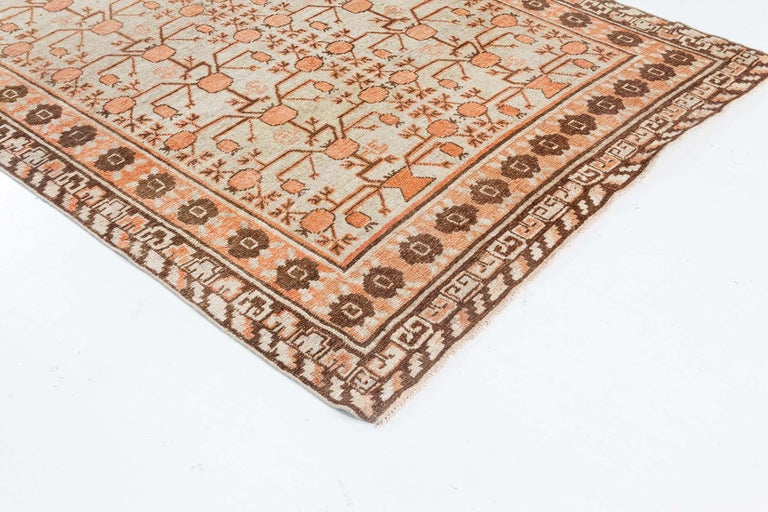 Midcentury Samarkand Handmade Wool Rug In Good Condition For Sale In New York, NY