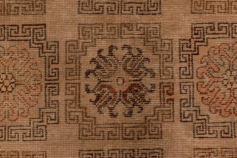 Mid-Century Modern Midcentury Samarkand Handmade Wool Rug in Beige, Brown and Orange For Sale