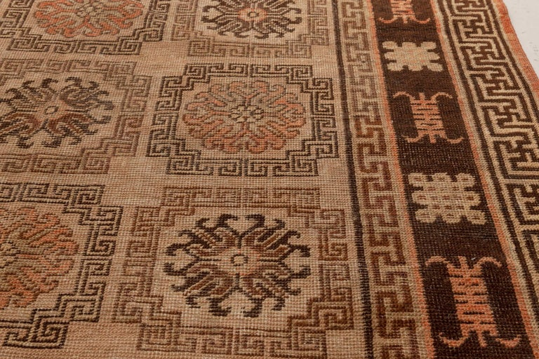 Central Asian Midcentury Samarkand Handmade Wool Rug in Beige, Brown and Orange For Sale