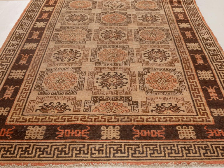 Hand-Knotted Midcentury Samarkand Handmade Wool Rug in Beige, Brown and Orange For Sale
