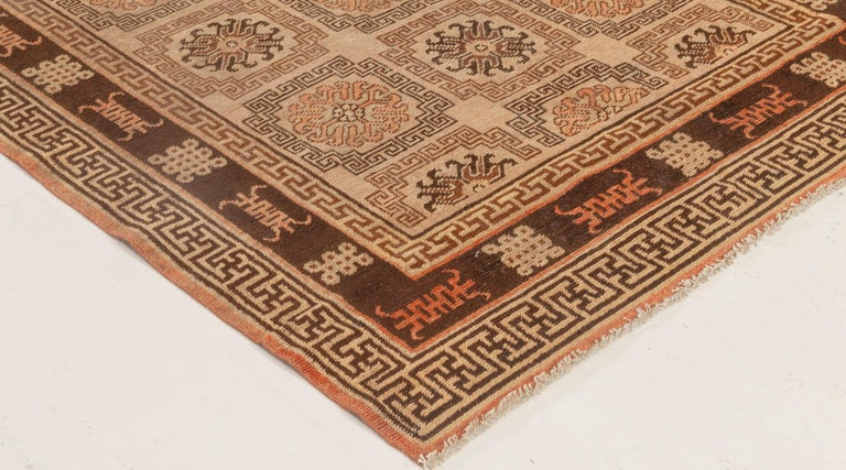 Midcentury Samarkand Handmade Wool Rug in Beige, Brown and Orange In Good Condition For Sale In New York, NY
