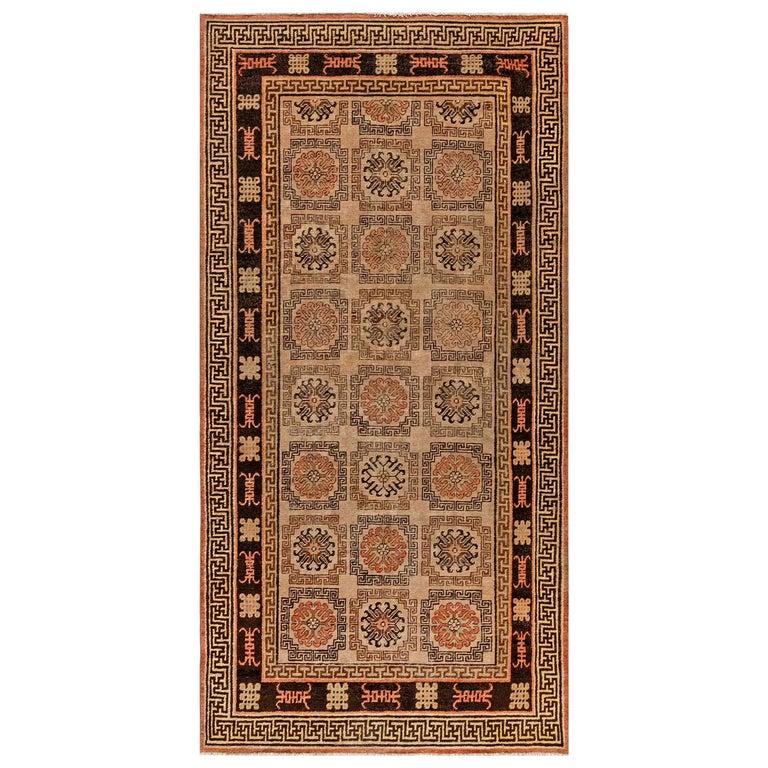 Midcentury Samarkand Handmade Wool Rug in Beige, Brown and Orange For Sale