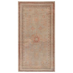 Midcentury Samarkand Handmade Wool Rug in Beige, Brown and Orange