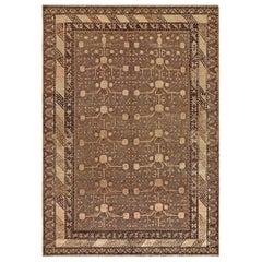 Midcentury Samarkand Handmade Wool Rug in Beige, Brown and Purple