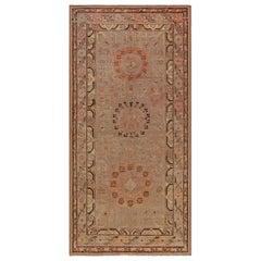 Midcentury Samarkand Handmade Wool Rug in Beige, Brown, Orange and Purple