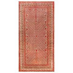 Midcentury Samarkand Handmade Wool Rug in Beige, Red and Orange