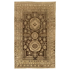 Midcentury Samarkand Handmade Wool Rug in Sandy Beige and Brown