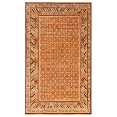 Midcentury Samarkand Handmade Wool Rug in Sandy Beige, Orange and Brown