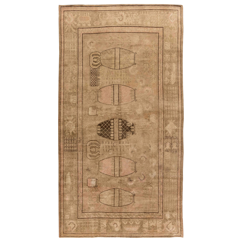 Midcentury Samarkand Handmade Wool Rug in Warm Caramel and Brown