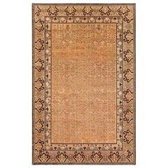Midcentury Samarkand Handwoven Wool Rug in Beige, Brown and Black