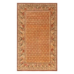 Midcentury Samarkand Handwoven Wool Rug in Sandy Beige, Orange and Brown