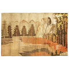 Midcentury Samarkand Landscape Design Handmade Wool Rug in Brown, Beige & Orange