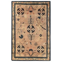 Midcentury Samarkand Navy Blue and Beige Handmade Wool Carpet