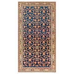 Midcentury Samarkand Navy Blue, Red and Orange Handmade Wool Rug