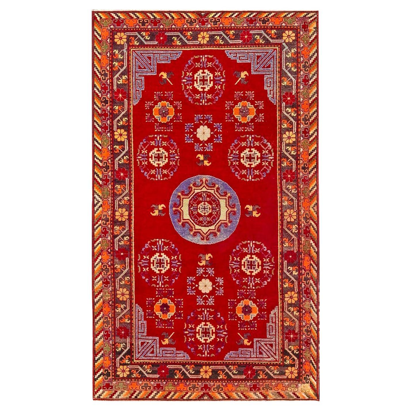 Midcentury Samarkand Red and Blue Handmade Wool Rug