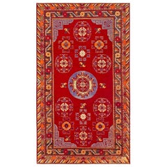 Midcentury Samarkand Red and Blue Handwoven Wool Rug