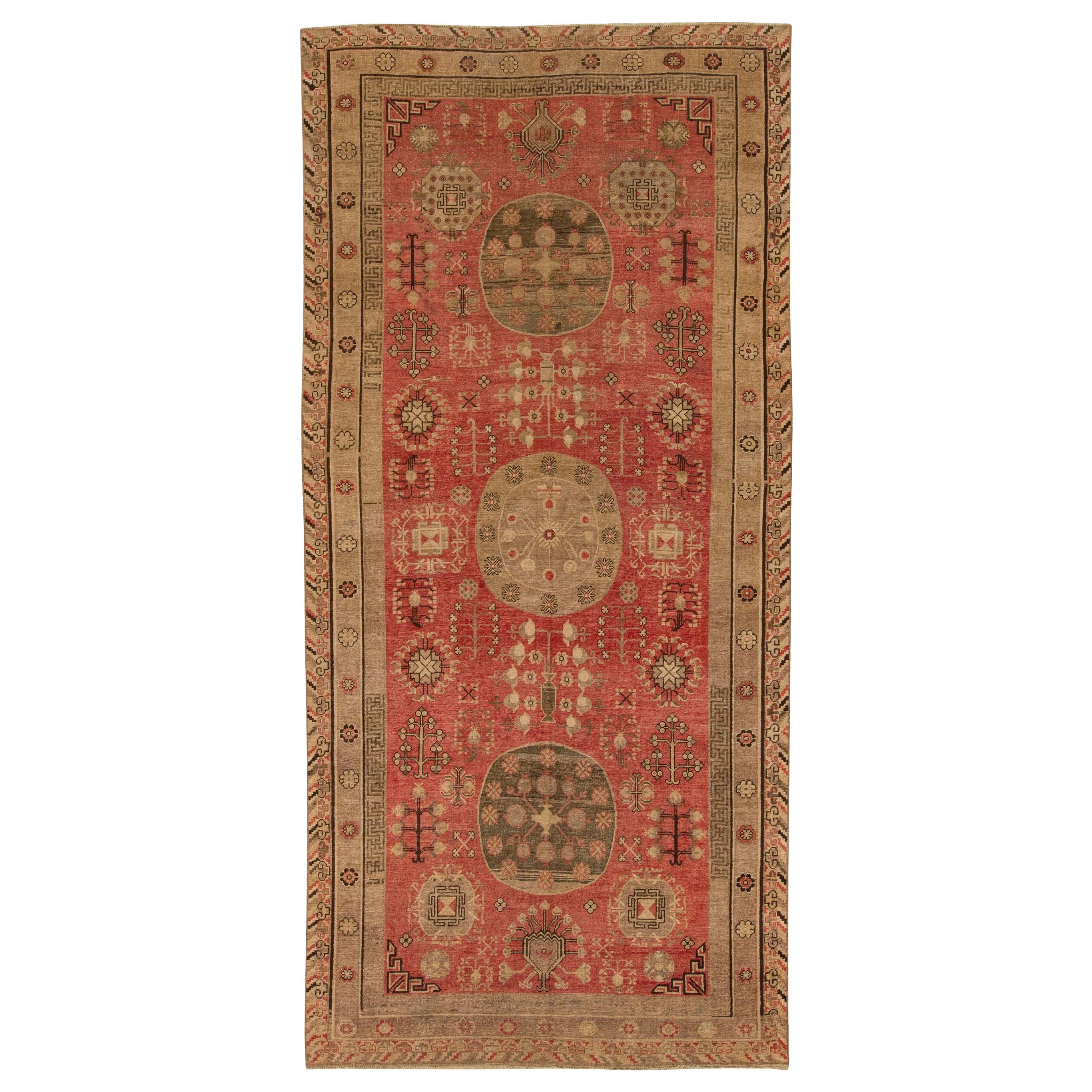 Midcentury Samarkand Red and Brown Handmade Wool Rug