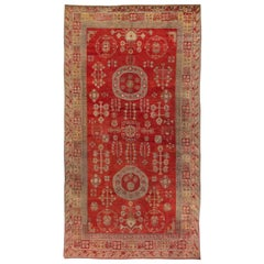 Midcentury Samarkand Red and Gray Handwoven Wool Rug