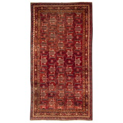 Midcentury Samarkand Red Handmade Wool Rug