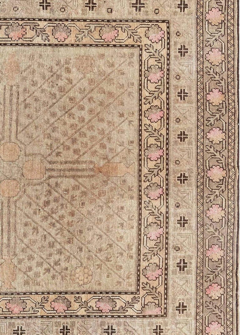 Hand-Knotted Midcentury Samarkand Rug For Sale