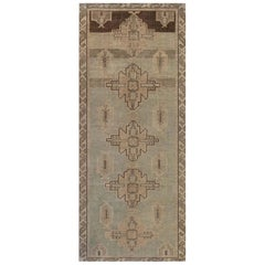 Midcentury Samarkand Rug in Beige, Brown, and Green