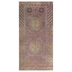 Midcentury Samarkand Rug in Beige, Brown, Green, Orange and Purple