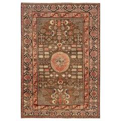 Midcentury Samarkand Taupe, Beige, Dusty Pink and Purple Handmade Wool Rug