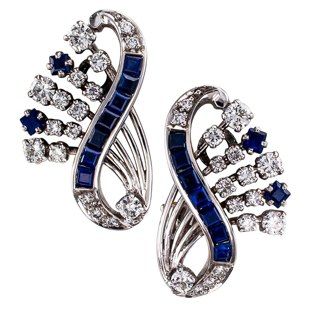 1950s Sapphire Diamond White Gold Clip Earrings