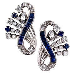 1950s Sapphire Diamond White Gold Clip Earrings