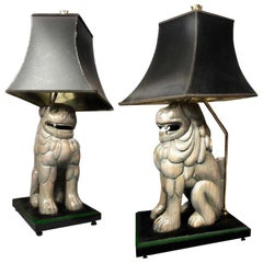 Midcentury Sarreid Ltd Hand carved Wood Foo Dog Table Lamp Pair, Forged Brass