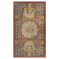 Midcentury Savonnerie Gold, Pink and Purple Handmade Wool Rug
