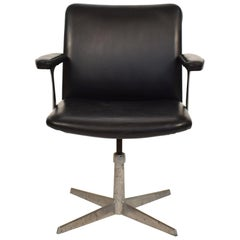 Midcentury Scandinavian Armchair in Black Leather and Aluminum, circa 1970