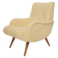 Midcentury Scandinavian Armchair Lounge Chair in White Sheep Wool Fabric, 1960