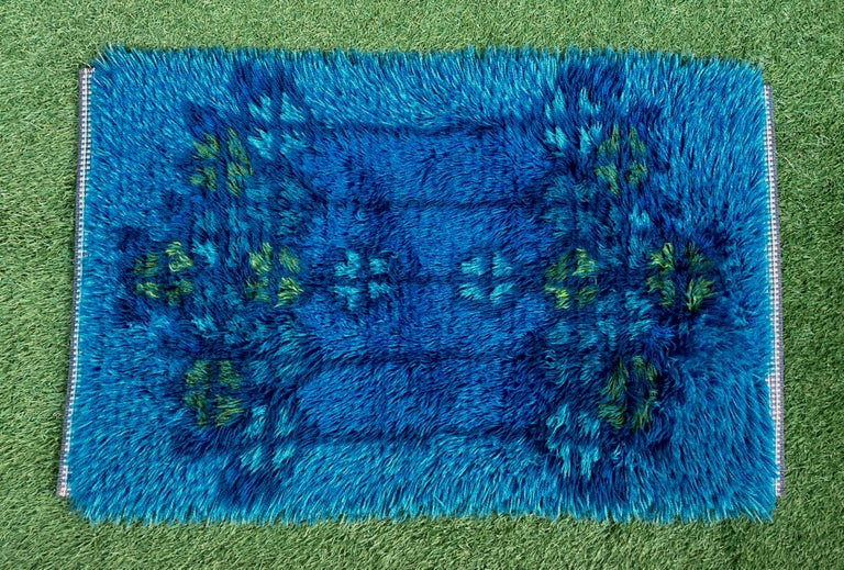 Mid-Century Modern Midcentury Scandinavian Blue Rya Rug