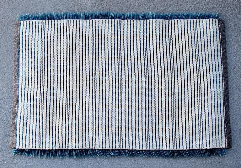 Hand-Knotted Midcentury Scandinavian Blue Rya Rug
