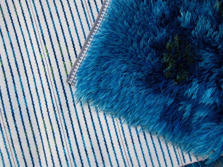 Midcentury Scandinavian Blue Rya Rug In Good Condition In Los Angeles, CA
